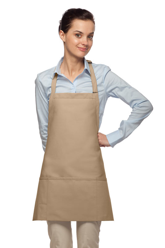 Style 200PD High Quality Professional Three Pocket Bib Aprons w/ Pencil Divide - Khaki