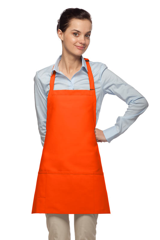Style 200PD High Quality Professional Three Pocket Bib Aprons w/ Pencil Divide - Orange