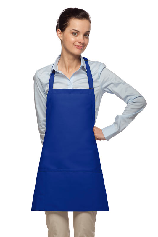 Style 200PD High Quality Professional Three Pocket Bib Aprons w/ Pencil Divide - Royal Blue