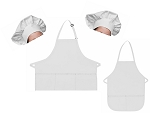 Mother Daughter Bib Aprons and Chef Hats Set -- White
