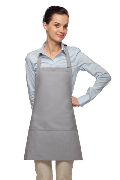 Style 200PD High Quality Professional Three Pocket Bib Aprons w/ Pencil Divide - Silver Gray