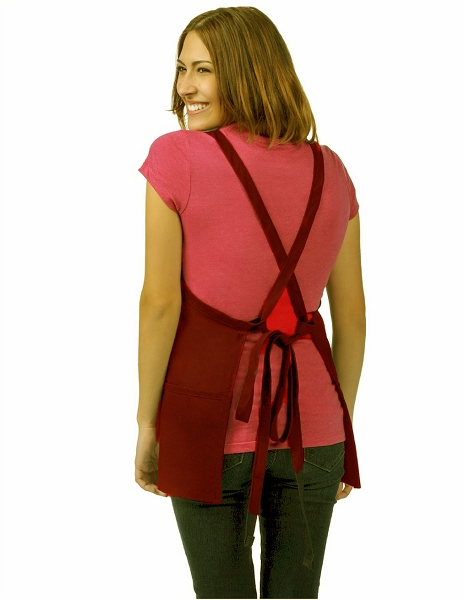 OVERSTOCK Style 200XX High Quality Professional Three Pocket Criss Cross Bib Aprons - Maroon
