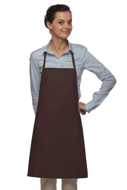 Style 205 Professional Small No Pocket Cover-Up Bib Apron - Brown