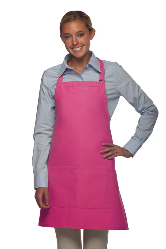 Style 212 Professional Bib w/ Center Divided Pocket Apron - Hot Pink