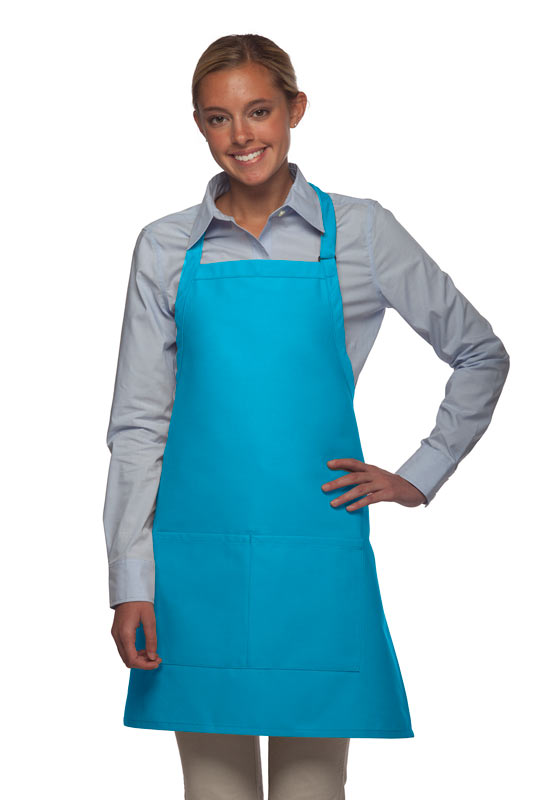 Style 212 Professional Bib w/ Center Divided Pocket Apron - Turquoise