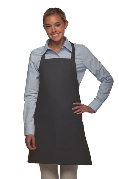 Style 212 Professional Bib w/ Center Divided Pocket Apron - Charcoal Gray