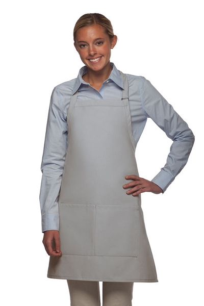 Style 212 Professional Bib w/ Center Divided Pocket Apron - Silver Gray