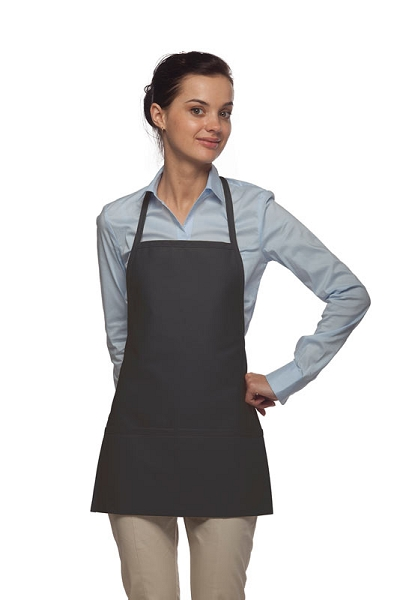 Style 215 EXTRA SMALL Professional Promo Two Pocket Bib Apron - Charcoal Gray
