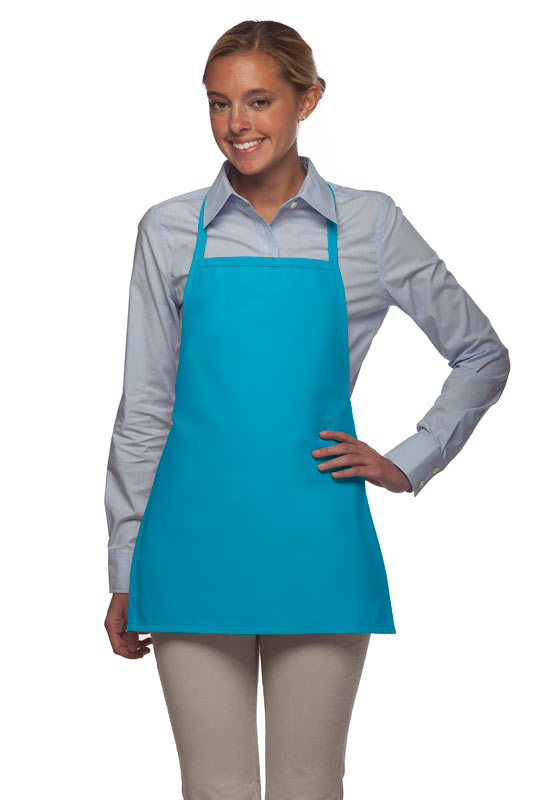 Style 215NP Professional Extra Small No Pocket Bib Aprons - Turquoise