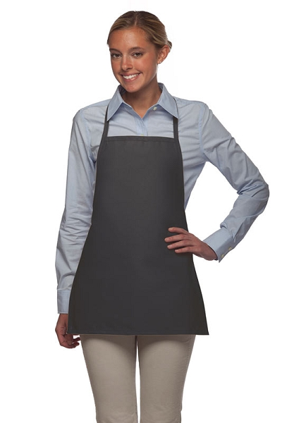 Style 215NP Professional Extra Small No Pocket Bib Aprons - Charcoal Gray