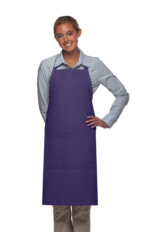 Style 220 High Quality Professional Center-Divided Pocket Butcher Apron - Purple