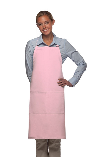 Style 220 High Quality Professional Center-Divided Pocket Butcher Apron - Pink