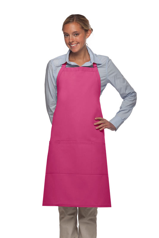 Style 223 Three Pocket Butcher Apron - Hot Pink