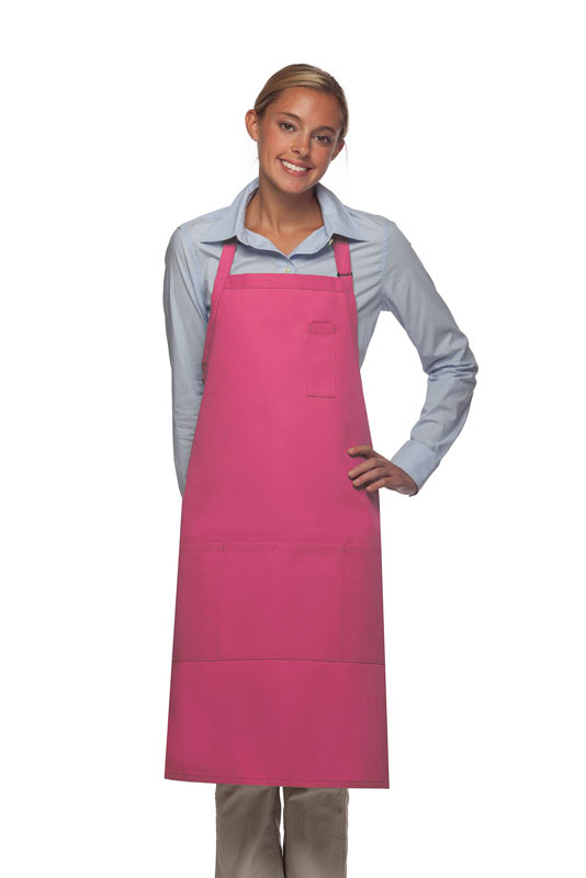 Style 224 Three Pocket Butcher Apron w/ Pencil Pocket - Hot Pink