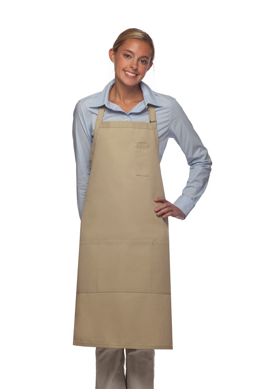 Style 224 Three Pocket Butcher Apron w/ Pencil Pocket - Khaki