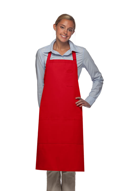 Style 224 Three Pocket Butcher Apron w/ Pencil Pocket - Red