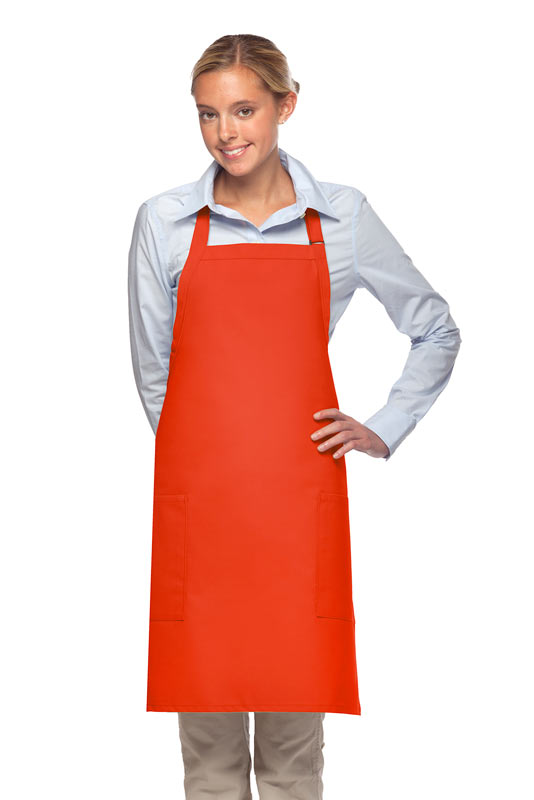 Style 230 Professional Two Patch Pocket Bib Apron - Orange