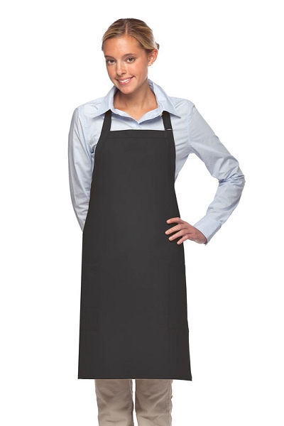 Style 230 Professional Two Patch Pocket Bib Apron - Charcoal Gray