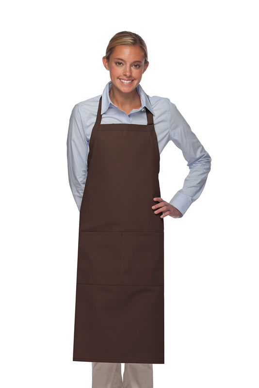Style 242 High Quality Professional Extra Coverage Two Pocket Butcher Apron - Brown