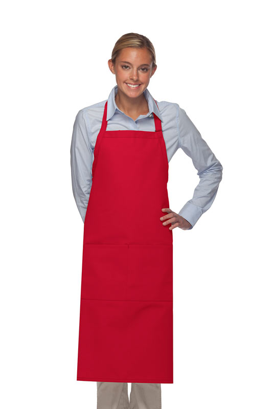 Style 242 High Quality Professional Extra Coverage Two Pocket Butcher Apron - Red