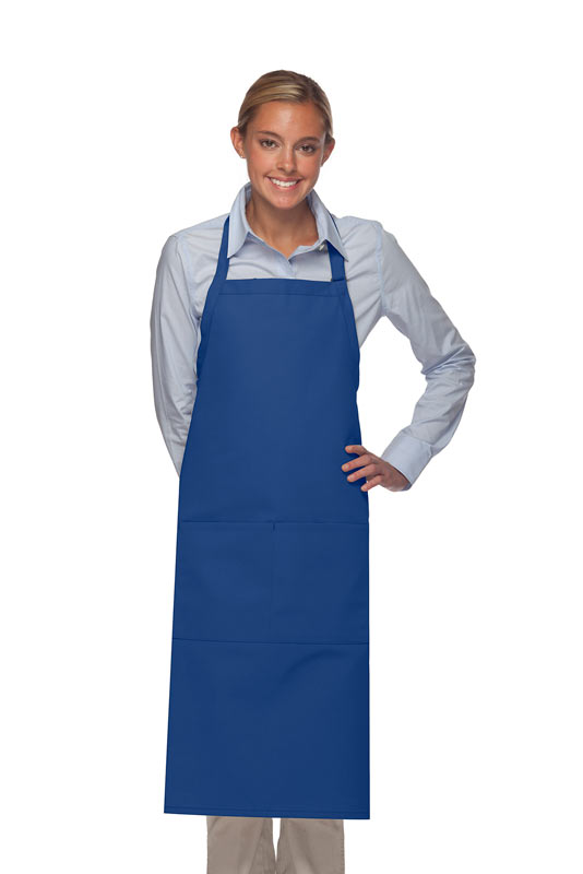Style 242 High Quality Professional Extra Coverage Two Pocket Butcher Apron - Royal Blue