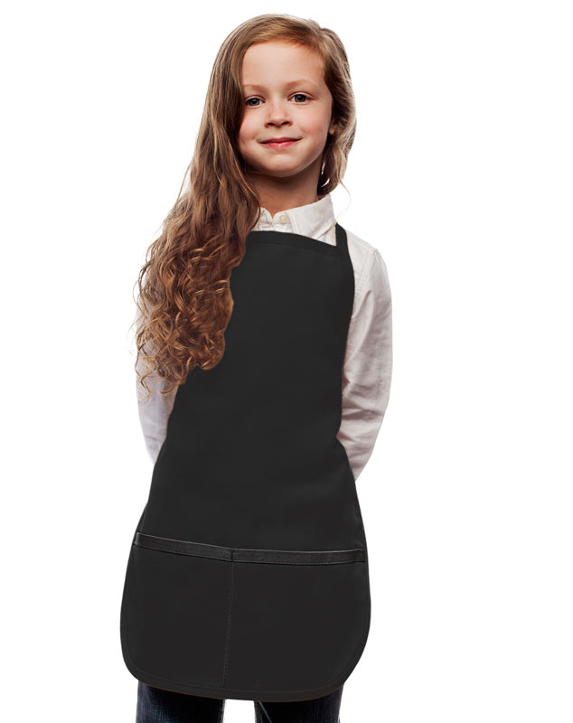 Style 250 High Quality Two Pocket Kids Bib Aprons - Black