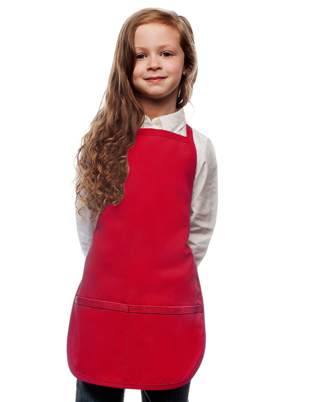 Style 250 High Quality Two Pocket Kids Bib Aprons - Red