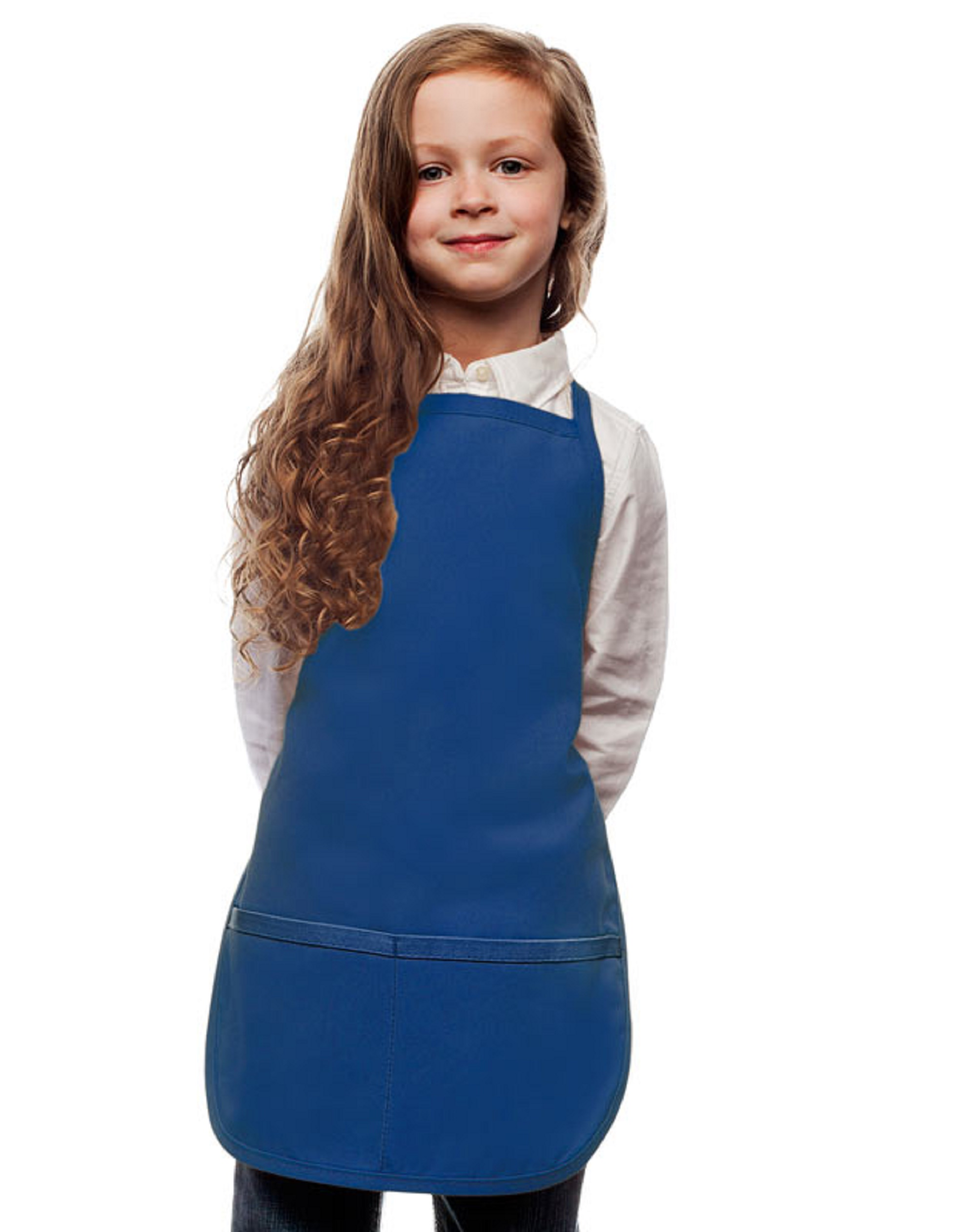 Style 250 High Quality Two Pocket Kids Bib Aprons - Royal Blue