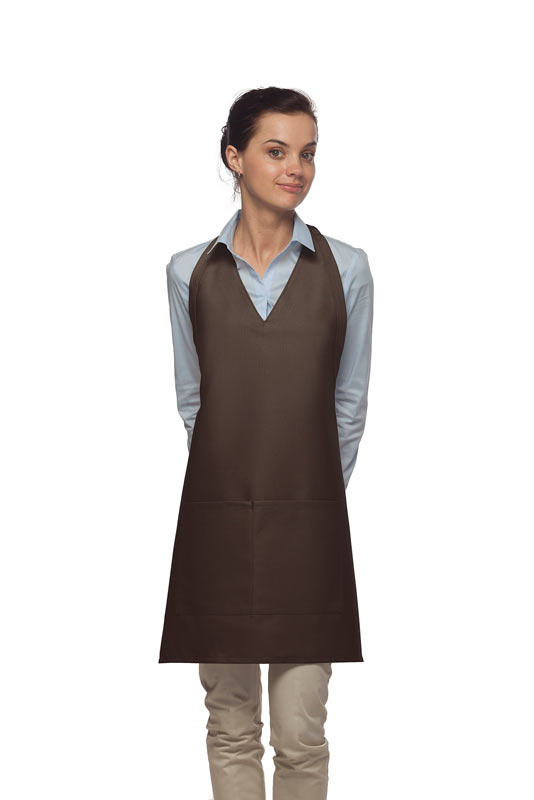 Style 300 High Quality Professional Two Pocket V-Neck Tuxedo Apron - Brown