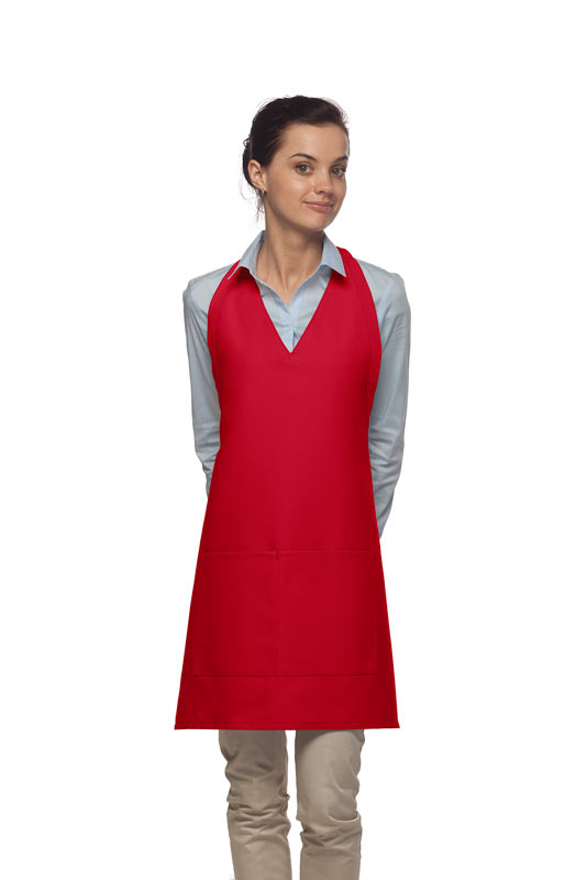Style 300 High Quality Professional Two Pocket V-Neck Tuxedo Apron - Red