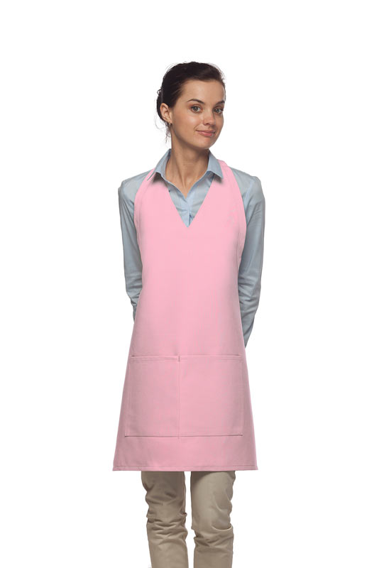 Need Aprons-- Style 300 Two Pocket PINK Tuxedo Bib Apron