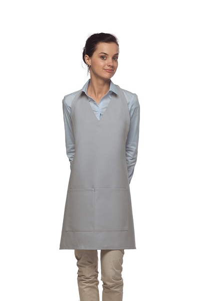 Style 300 High Quality Professional Two Pocket V-Neck Tuxedo Apron - Silver Gray