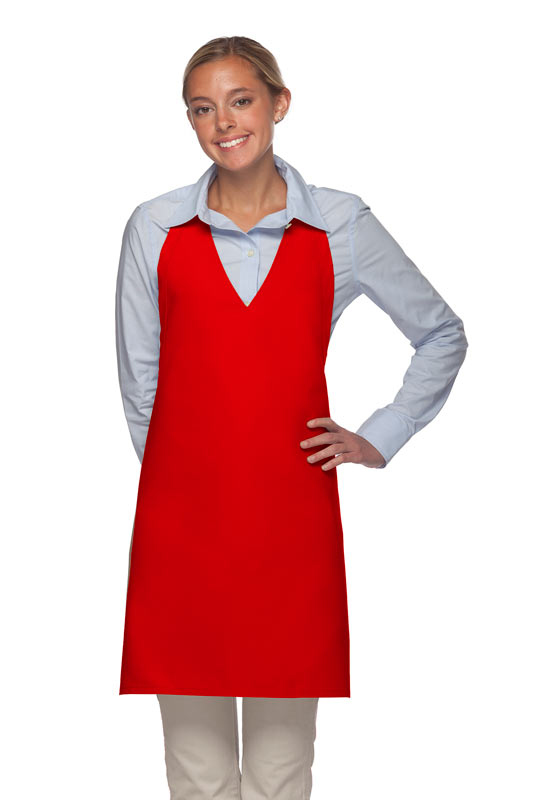 Style 300NP High Quality Professional V-Neck Tuxedo Apron - Red