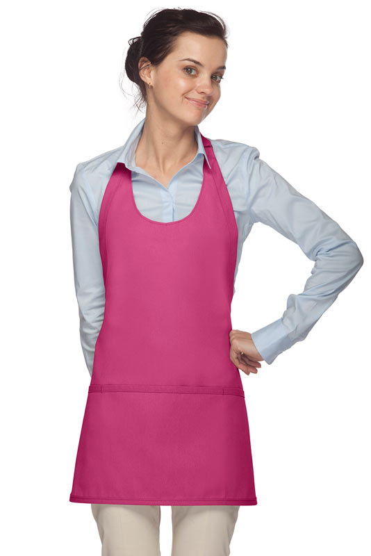 Style 305 High Quality Professional Scoop Neck Tuxedo Apron - Hot Pink