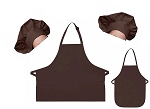 Mother Daughter Bib Aprons and Chef Hats Set -- Brown