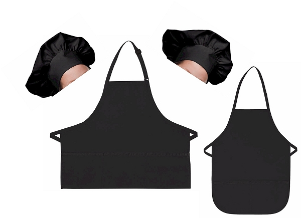 Mother Daughter Bib Aprons and Chef Hats Set -- Black