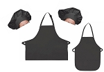 Mother Daughter Bib Aprons and Chef Hats Set -- Charcoal Gray