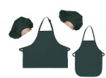 Mother Daughter Bib Aprons and Chef Hats Set -- Hunter Green