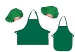 Mother Daughter Bib Aprons and Chef Hats Set -- Kelly Green