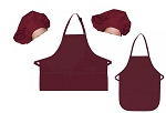 Mother Daughter Bib Aprons and Chef Hats Set -- Maroon