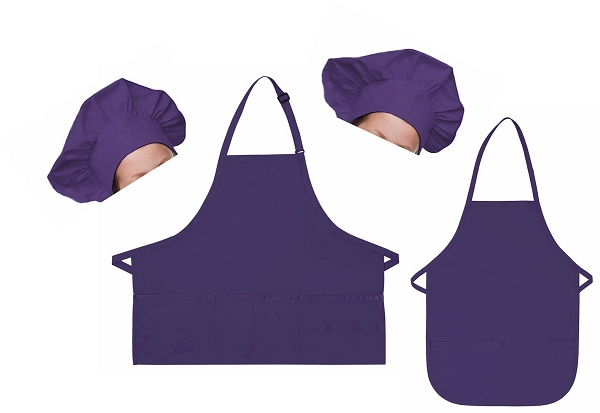 Mother Daughter Bib Aprons and Chef Hats Set -- Purple