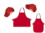 Mother Daughter Bib Aprons and Chef Hats Set -- Red