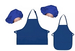 Mother Daughter Bib Aprons and Chef Hats Set -- Royal Blue