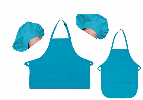 Mother Daughter Bib Aprons and Chef Hats Set -- Turquoise