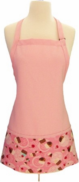 Style CM200 Three Pocket PINK Bib Apron - Tossed Cupcakes