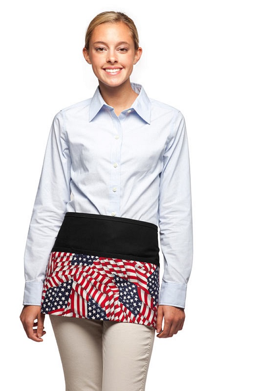 Style FG100 American Flag Three Pocket Waist Apron