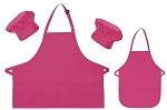 Mother Daughter Bib Aprons and Chef Hats Set -- Hot Pink