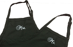 Mr and Mrs matching embroidery Bib Aprons -- Made in USA