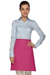 Style 110 Professional Half Bistro Apron with Center-Divided Pocket - Hot Pink