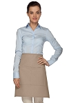 Style 110 Professional Half Bistro Apron with Center-Divided Pocket - Khaki
